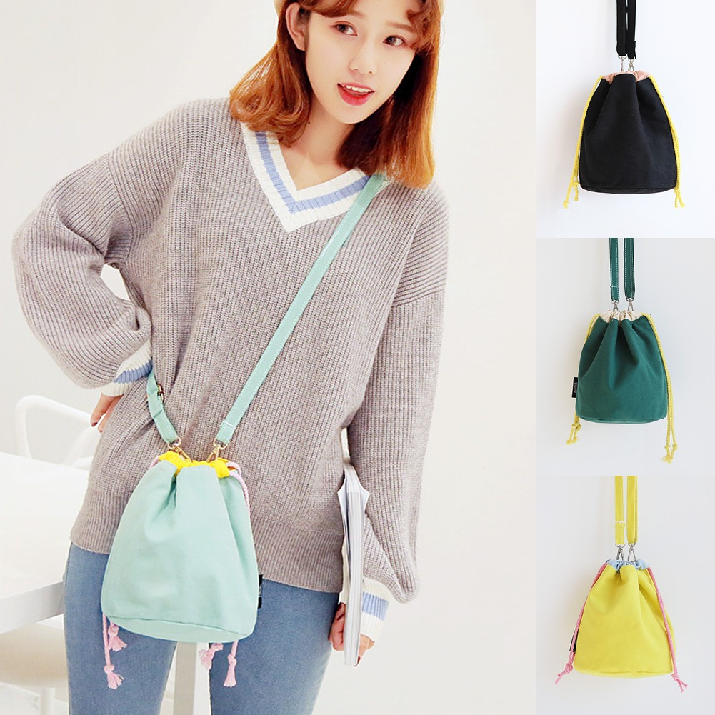 Canvas Drawstring Bag Shoulder Cross Body Bucket Bag Solid String Glasses Pouch Simple Phone Purse Hot