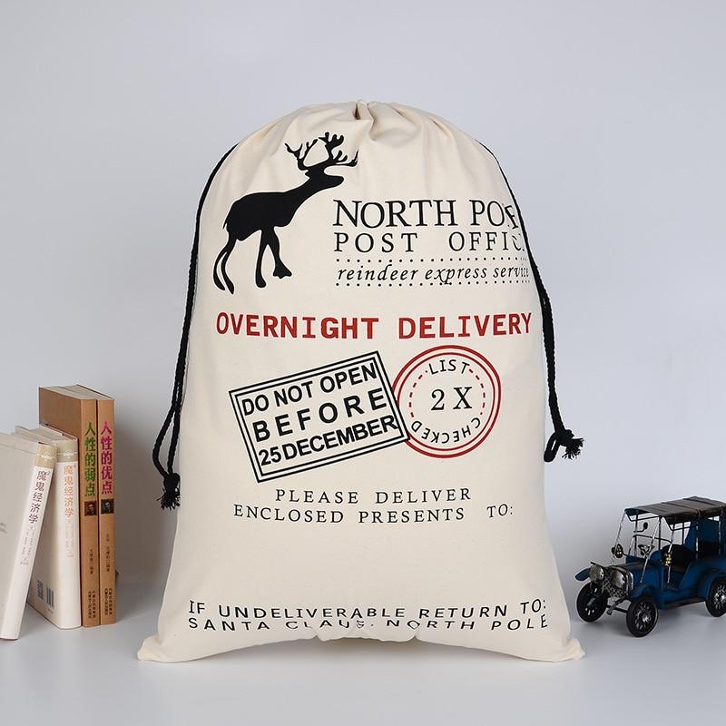 New Children Christmas Gift Drawstring Bags Cotton Environmental Protection Bundle Canvas Bag Boys Girls Elk Christmas Gift Bag