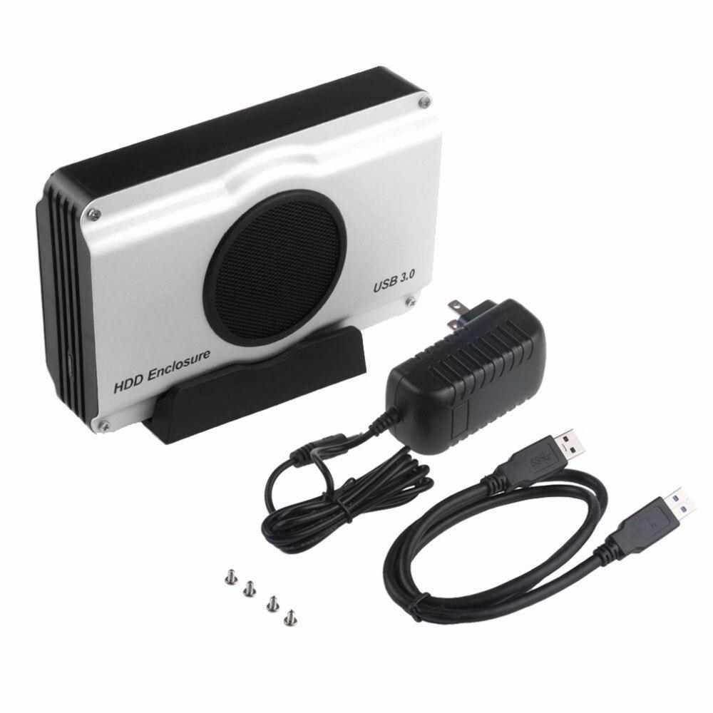 3.5 pollice 393U3 Involucro In Alluminio 5 Gbps SuperSpeed USB 3.0 a SATA Box e Alloggiamenti per HDD Box Cassa Ventola di Raffreddamento Interna di Trasporto di Goccia