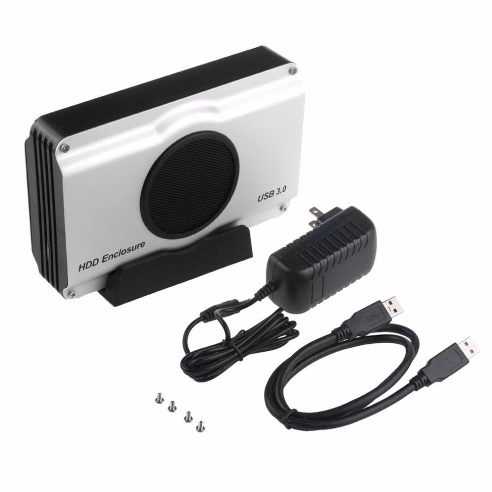 3.5 pouce 393U3 Boîtier En Aluminium 5 Gbps SuperSpeed USB 3.0 vers SATA HDD Boîtier Interne Cool pour Ventilateur expédition