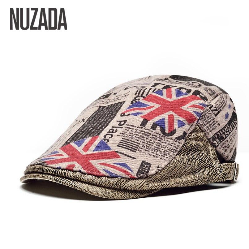 NUZADA England Retro Quality Material Flat Visor Caps Women Unisex Men Beret Hats Boina Chapeu Classic Cap
