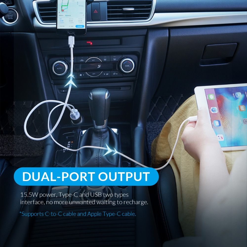 ORICO Dual Output Car Charging Type C Port + USB Charger Car Cigarette Lighter Charger Wide Voltage Mobile Phone Charger (5)