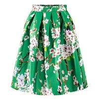 plus size 2XL 2018 Summer Women Skirt Vintage Peach Blossom Floral Print High Waist Ball Gown Pleated knee length skirt