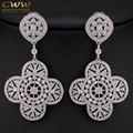 Hign End Vintage Wedding Party Jewelry 7cm Full Inlay Cubic Zirconia Created Diamond Large Long Luxury Earrings For Women CZ316