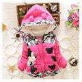 Девушки зимняя одежда 2016 новых осенью и зимой одежда из хлопка куртка 1-3 лет прекрасный девушки теплые куртки мультфильм дизайн тхи