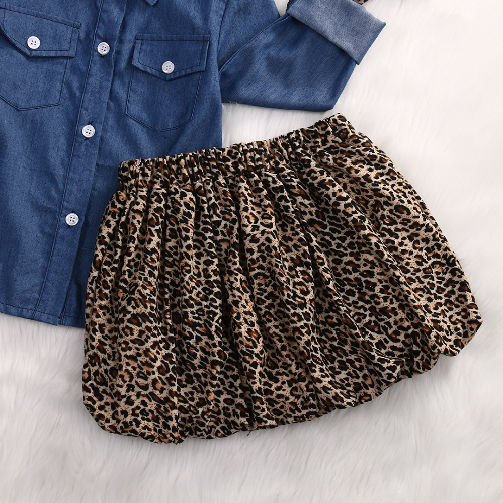 751d2d93 3PC Toddler Baby Girls Outfits Denim Shirt+Leopard Skirt+headband Fashion Kids  Girls Clothes set-in Clothing Sets from Mother & Kids on Aliexpress.com ...