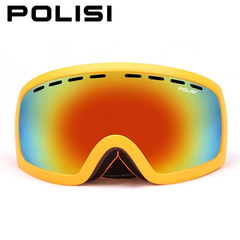 POLISI Ski Snowboard lunettes Anti-buée Double couche grande lentille sphérique neige lunettes polarisées Protection UV extérieur Skate lunettes