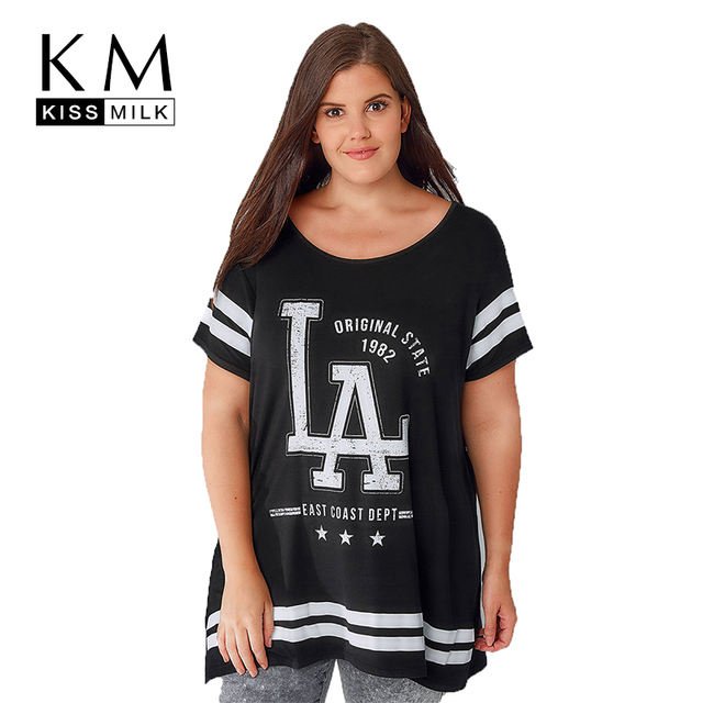 f61109f3622 Kissmilk Plus Size 2018 New Fashion Women Summer Letter Print Short Sleeve  O Neck Color Block