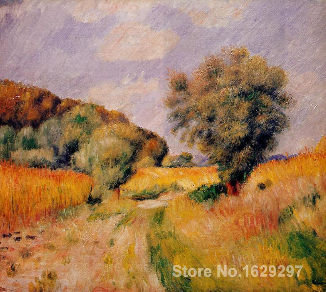 photo to canvas oil painting Pierre Auguste Renoir Handmade wall art Fields of Wheat High quality