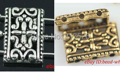 OMH Grosir Antik Perak & Emas Perak Tibet 3-3 Lubang Persegi Panjang Pengatur Jarak Manik-manik 17X12Mm ZL151