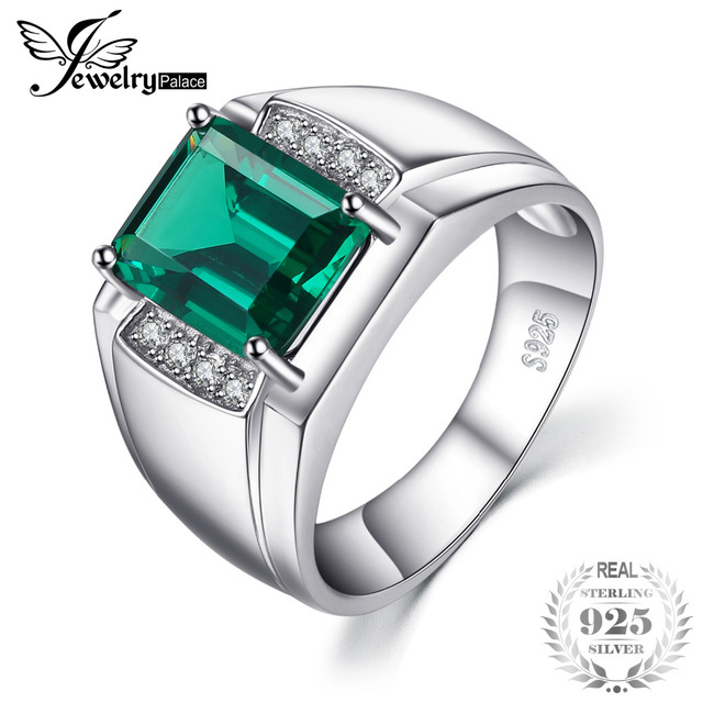Jewelrypalace Men Luxury 2.7ct Created Emerald Anniversary Wedding Ring Genuine