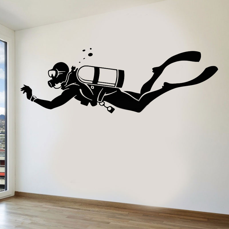 Diver Extreme Sports Water Bathroom Vinyl Wall Decals Home Decor For Living Room Self adhesive Beautiful Stickers Gift 3YD41-in Wall Stickers from Home & Garden