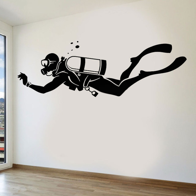 Diver Extreme Sports Water Bathroom Vinyl Wall Decals Home Decor For Living Room Self adhesive Beautiful Stickers Gift 3YD41