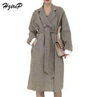 HziriP New Fashion Women Basic Coats 2018 Spring Autumn Retro Elegant Long Sleeve Faux Woolen Coat