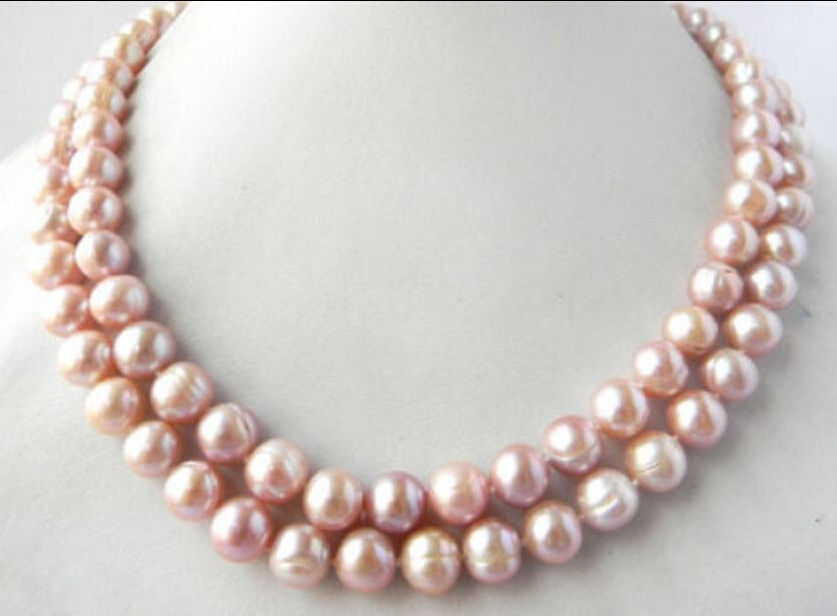REAL SURPRISING 35 10-13MM AKOYA PINK BAROQUE PEARL NECKLACE 925silver YELLOW CLASPREAL SURPRISING 35 10-13MM AKOYA PINK BAROQUE PEARL NECKLACE 925silver YELLOW CLASP