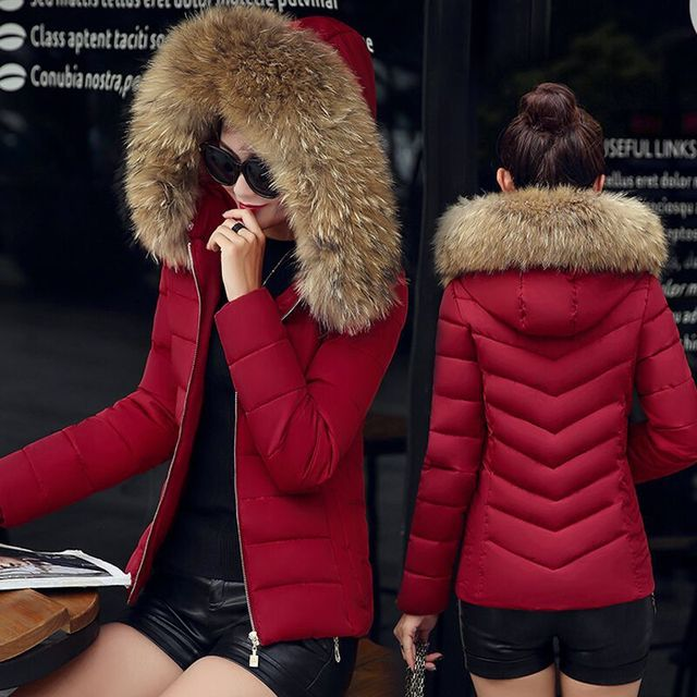 ceb714d3f642 Winter Down Cotton Slim Parkas Women Autumn Quilted Coat Faux Fur Collar  Female Puffer Jacket Abrigos Mujer Ladyies Outwears