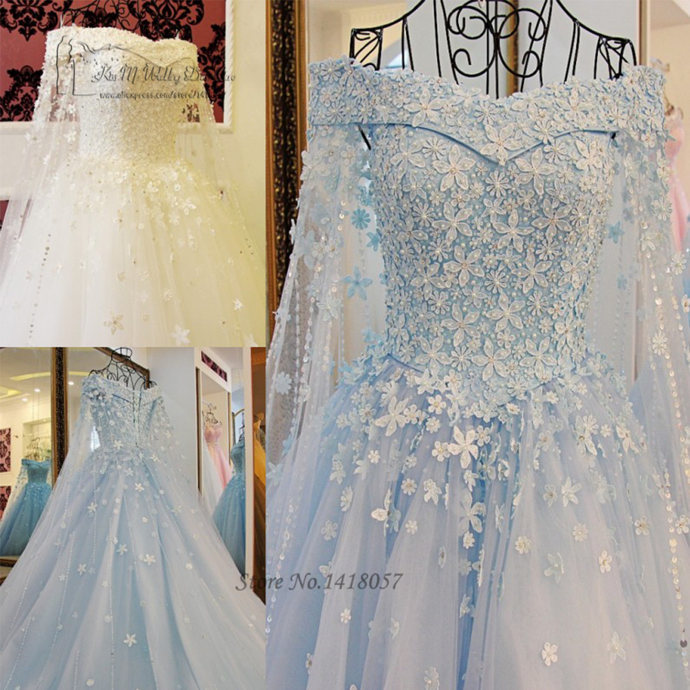 Vintage Dresses Blue Wedding: Vintage Blue White Princess Wedding Dress Lace Saudi