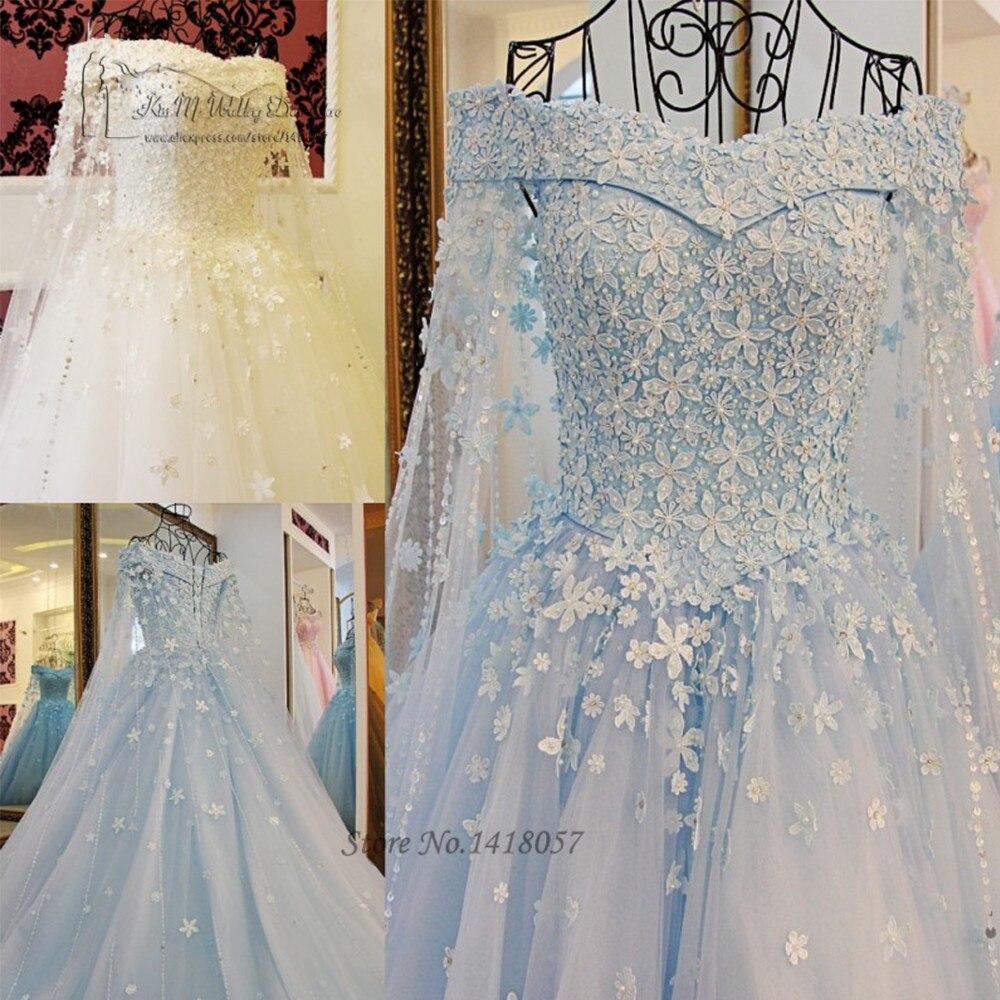 Vintage Blue White Princess Wedding Dress Lace Saudi Arabia Muslim Dubai Bride Dresses Wedding Gowns Vestidos de Noiva de Luxo