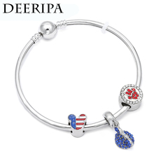 CUTEECO Cute Silver Minnie Charm Fit Brand Women Wristband Bangle Bracelet Enamel Beads Cartoon Mouse Bracelets