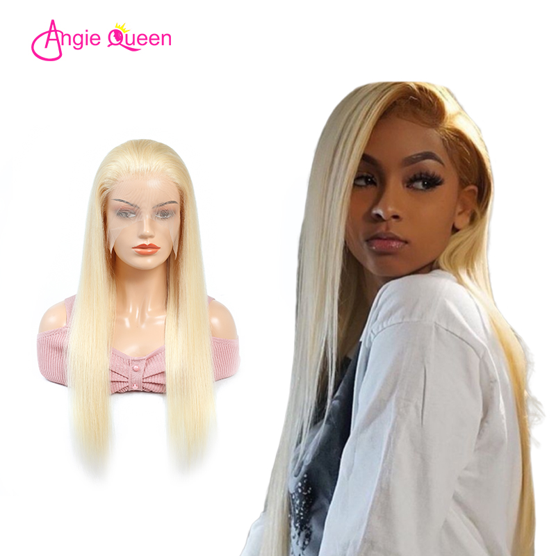 ANGIE QUEEN Indian hair Straight 613 full lace wigs human hair 120/130/150% virgin hair blonde lace full wigs remy hair 613 wig(China)