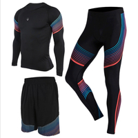 3 Pieces Men S Running Sets Sportswear Compression Tights Shirts Pants Shorts For Fitness Running Basketball