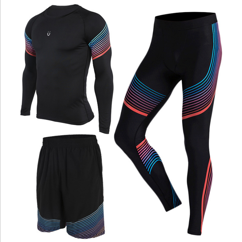 3 unidades de Sets para correr ropa deportiva compresión Medias (Camisas + Pantalones  cortos) para la aptitud Correr Baloncesto Fútbol Jersey en Correr ... 223588c4eccd3
