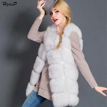 New Winter Faux Fox Fur Vest Women High-Grade Fur Vest Coat Pink Fashion Outwear O-Neck Thick Jacket Warm Plus Size Coats