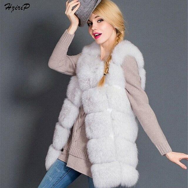 Nuevo Invierno Faux Fox Chaleco de Piel de Las Mujeres de Alta Calidad Chaleco de Piel capa Rosada de La Manera Outwear Chaqueta Caliente Más El Tamaño Del O-cuello Grueso abrigos