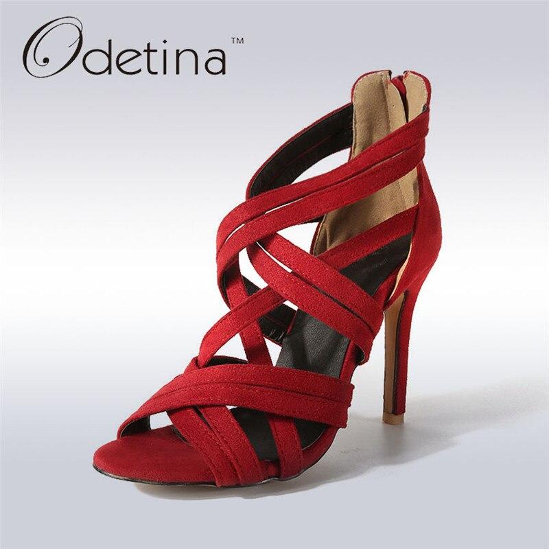 Odetina 2017 New Fashion Summer Womens Gladiator Sandals High Heels Open Toe Cross Strap Sandals Thin Heel Zipper Big Size 32-46 denim zipper hollow worn stiletto womens sandals