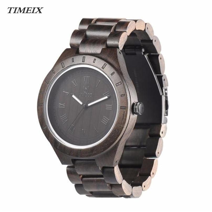 Wooden Watch for Men Unique Luxury Brand Black Sandal Wood Quartz Wrist Watches Fashion Natural Wood Watch Male цена 2016