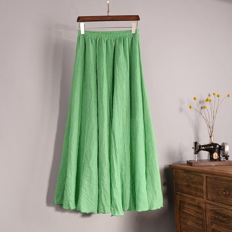 Frauen Elegante 16 Farbe Hohe Taille Elastische Taille Leinen - Damenbekleidung - Foto 6