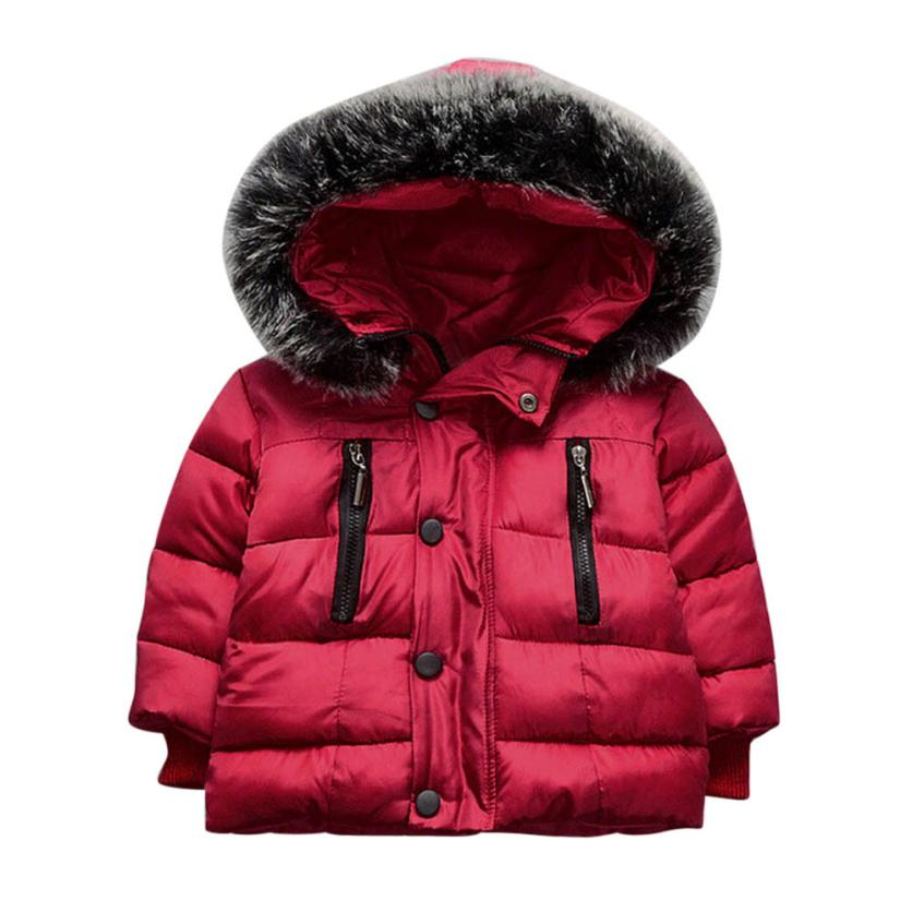 Baby Girl Boy Winter Cotton Hooded Coat Jacket Thick Warm Zipper Outwear Clothes NO2 Wool & Blends