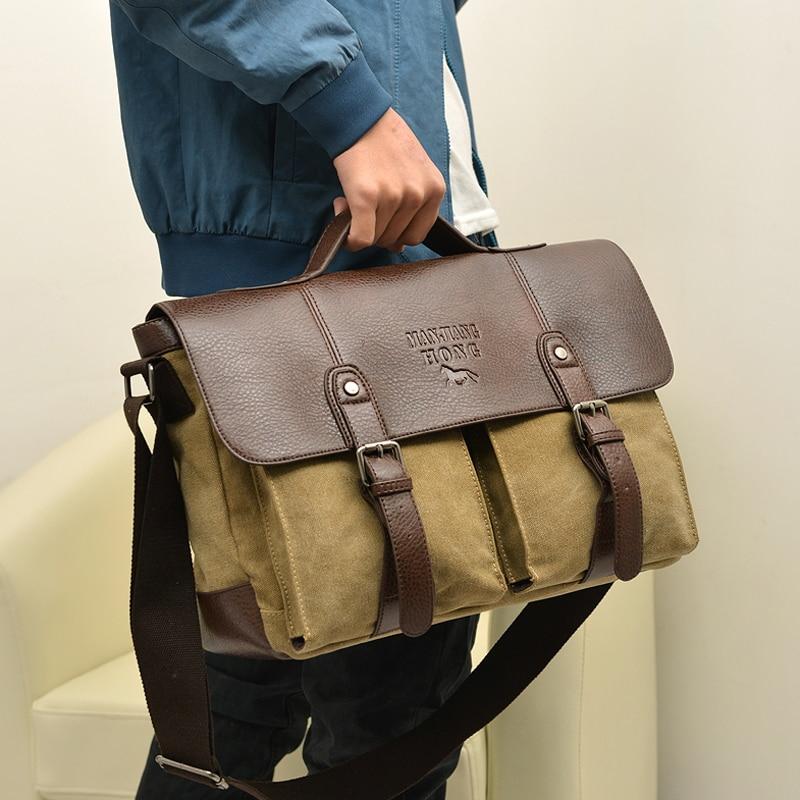 Mens Messenger Bag 14 Inch Waterproof Vintage Genuine Leather Waxed Canvas Briefcase Large Satchel Shoulder,Black,37CM