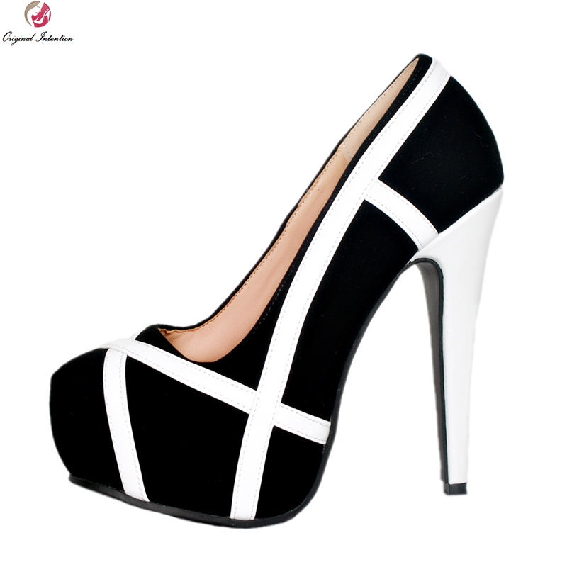 Original Intention Super Elegant Women Pumps Round Toe Thin High Heels Pumps Fashion Black&White Shoes Woman Plus US Size 4-15 original intention nice elegant women pumps stylish platform round toe thin high heels pumps white shoes woman plus us size 4 15