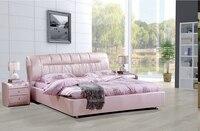 Королевский большие king размер натуральная кожа мягкая кровать спальня мебель мягкая кровать 2683