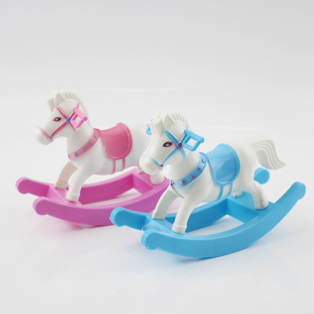 Mini Small Plastic Rocking Horse Model Balance Horse Doll House Decoration Pretend Play House Toy Gift Child Kid Girl