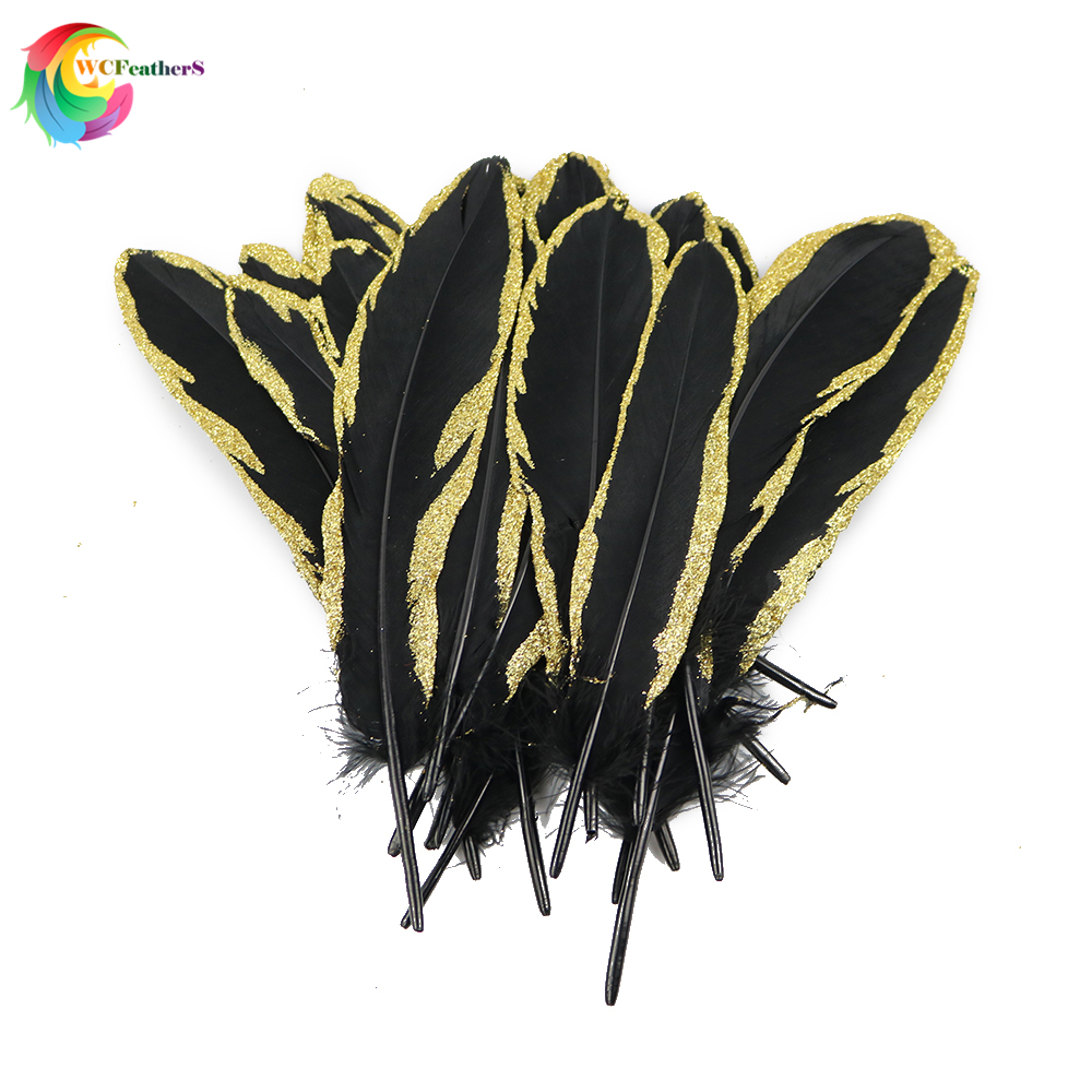 NEW 10pcs Gold Dipped Black goose feather 15-20CM DIY Crafts Accessories Cap Headdress Decoration Plume