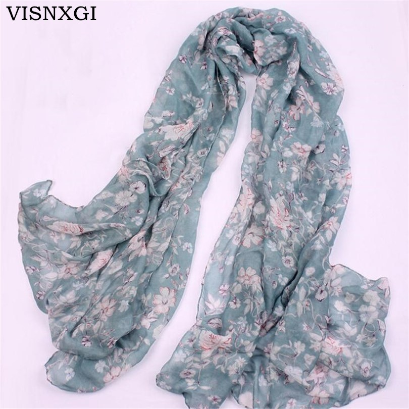 VISNXGI Wholesale New Fashion Women Print Soft Long Scarf Cotton Scarves Neck Wrap Shawl Stole Spring Autumn Scarves For Women