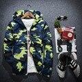 2016 outono Inverno dos homens novos cor da Camuflagem Com capuz jaquetas Masculinas zipper Longo-luva dos homens casuais jaqueta homens outerwear