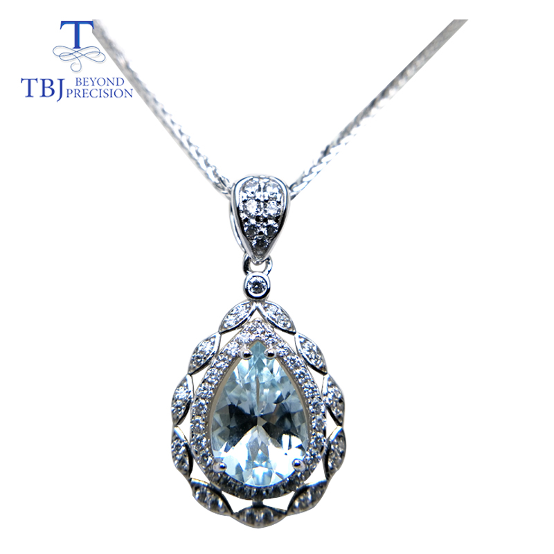 TBJ shine pear shape pendant with good color natural brazil aquamarine gemstone in 925 sterling silver