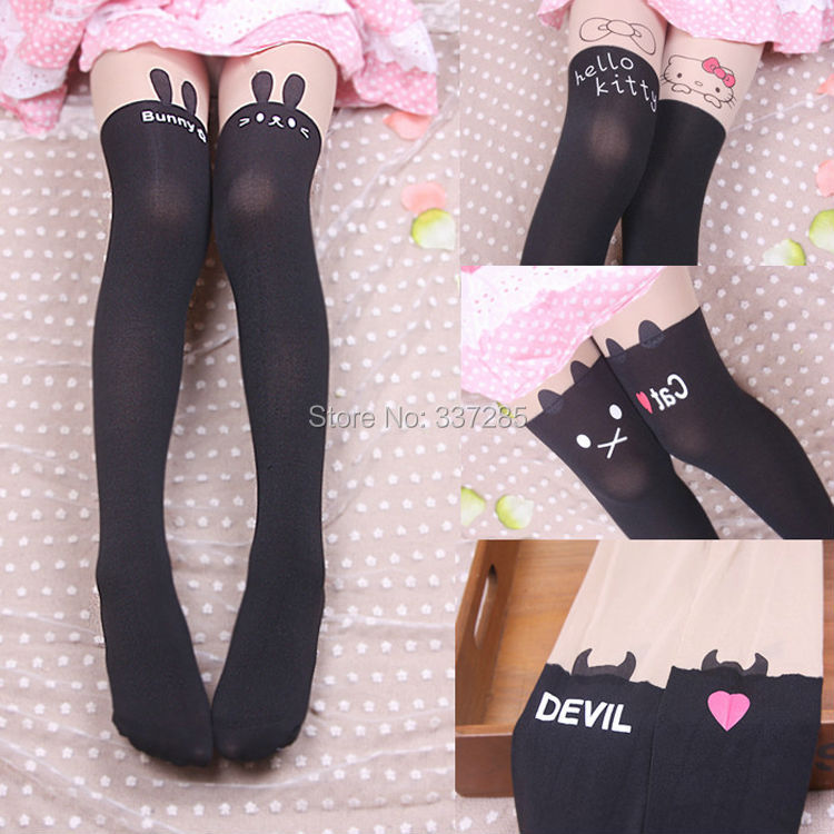 Free shopping spring children Baby Kids Girls baby cute hello kitty Knee lovely tattoo tights pantyhose girls cute for tights