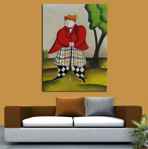New Painting Handpainted Lovely Art Abstract Golf Playing