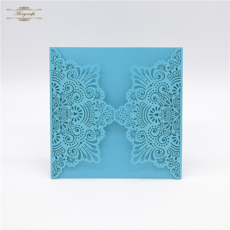 Tiffany Blue Color Laser Cut Personalized Wedding Invitation Hollow  Design(China)