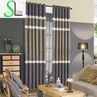 Coffee Curtain Cloth Bedroom Modern Minimalist Cotton Blackout Striped Kitchen Curtains Luxury Door Curtain For Living