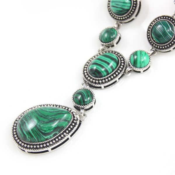 Брендовые дизайнерские винтажные зелёные малахитовые каменные ожерелья большое короткое ожерелье ретро зеленые ожерелья для женщин ювелирные изделия nkek74