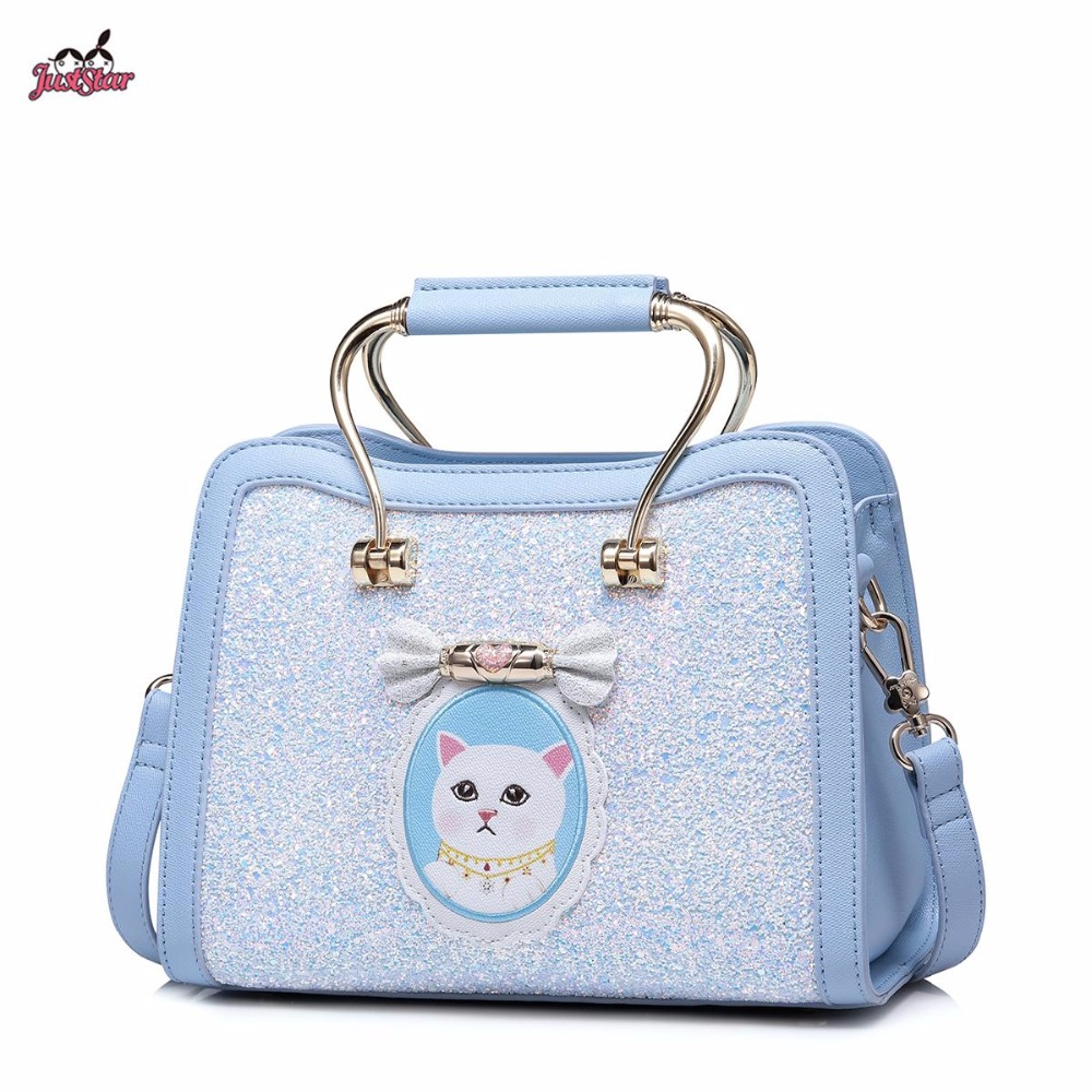New Just Star Brand Design Sweet Kitten Gold Handle PU Leather Women Handbag Ladies Shoulder Bags Cross body Bag For Girls just star brand new design fashion mermaid printing pu leather women handbag girls shoulder bag cross body small round bag