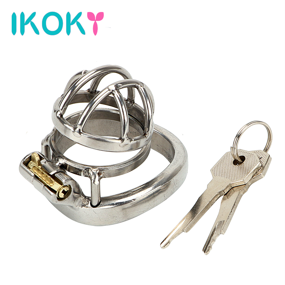IKOKY Male Chastity Device Lockable Sex Products Arc-shaped Ring Adult Games Sex Toys For Men Male Cock Lock Stainless Steel