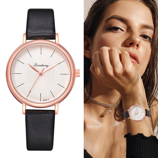 Fashion Women Rose Gold straps Lady Watches Simple Scale Business Candy Color Co