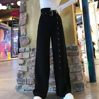 Fashion Summer Women high waist Slim Bell Bottom Flare Trousers Wide Leg Pants Office lady casual pants Belted straight trousers фото