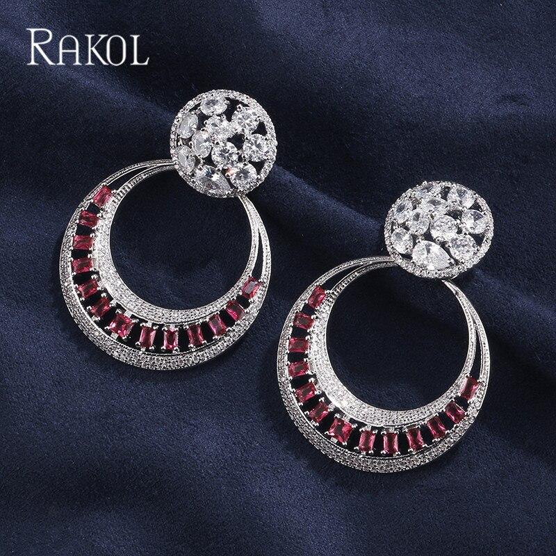 RAKOL Earrings Crystal Cubic-Zircon Bridal Bohemia Fashion Women Round Red Wedding
